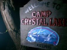 "PLASTIC FRIDAY THE 13TH ""Welcome to camp crystal lake"" SIGN 10INCHES TALL"