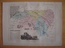 CARTE départementale Pyrénées Atlantiques vers 1880  Pau Bayonne Mauléon Orthez