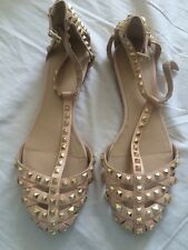 Zara Nude Leather Caged Sandals Hold Studs 5 38 Blogger Rare