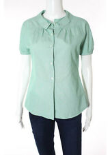 MIU MIU Green White Striped Collared Button Front Blouse Top Sz IT 38