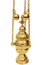 Church censer 12 bells incense burner thurible polished brass 20cm