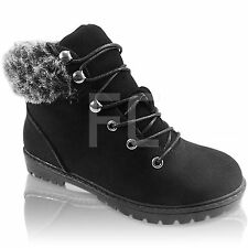 NEW WOMENS FLAT LOW  LACE UP  HIKING WORK CASUAL WINTER SNOW ANKLE BOOTS SIZE