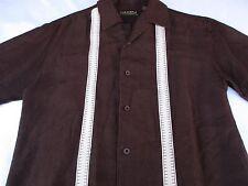 Cubavera Mens Lounge Button Front Short Sleeve Brown Cuban Shirt Small S