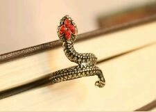 Adjustable Snake Serpent Style Ring Finished in Ancient Bronze Red Gem Crystals