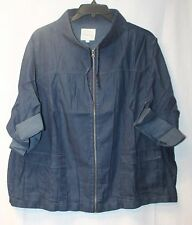COOL NEW TORRID WOMENS PLUS SIZE 4X 4 BLUE SOFT DENIM CROPPED ANORAK JACKET COAT