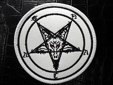 BAPHOMET SATAN   white and black EMBROIDERED PATCH