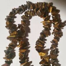 "34"" BROWN TIGER EYE STONES LONG STRAND NECKLACE OR USE AS PIECES"