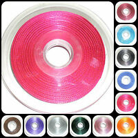 TOP QUALITY DOUBLE SIDED SATIN RIBBON, 6MM, ASSORTED COLOURS, 25MTR REEL