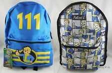 "New Fallout 4 Vault Boy Reversible Canvas Backpack Book Bag ""111"" Design"