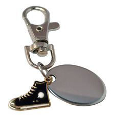 Black shoe trainer engraved personalised keyring with velvet gifts pouch - PL509
