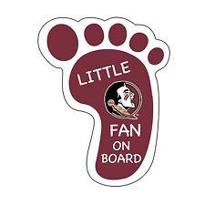 FSU SEMINOLES LITTLE FAN ON BOARD DECAL-FLORIDA STATE FOOTPRINT STICKER