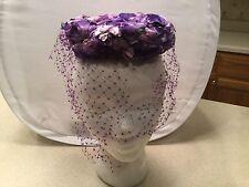 Ladies Vintage Hat Purple Floral Floewrs Church W/ Purple Veil Cute Veil