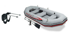 Intex Mariner 4 Inflatable Raft River/Lake Dinghy Boat Set & Motor Mount Ki