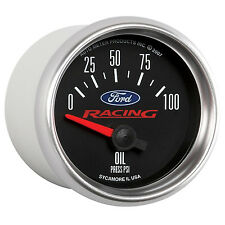 "Auto Meter (Licensed) Ford Racing 2 1/16"" Electric Oil Pressure Gauge 0-100 Psi"