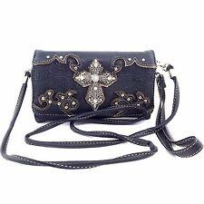 Vintage Cross Wristlet Wallet Croc Skin Long Strap Cross Body Small Purse Black