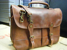 EDDIE BAUER  Vintage Leather Messenger.Briefcase Bag Mens  USA