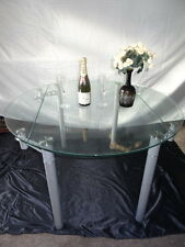 Art Deco Style Round Glass Chrome Metal Extending Dining Room Table Seats 4