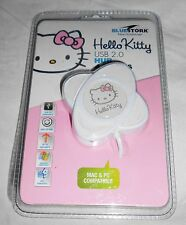 HELLO KITTY 4 porte hub USB 2.0 BLUESTORK PC MAC OS Windows COMPATIBILE NUOVO BIANCO