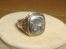 sterling silver 10k gold 925 ring Intaglio cameo spartan roman warrior size 11