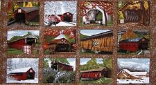 "36"" Fabric Panel - Riverwoods Quilt Barns & Covered Bridges Blocks Brown"