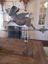 LARGE Handcrafted 3D 3- Dimensional FLYING PIG Weathervane Copper Patina Finish