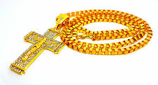 Chain Hip Hop Necklace Micro-paved Clear Crystal Jesus Cross Pendant UK