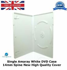50 Single Amaray White DVD Case 14 mm Spine New High Quality Replacement Cover