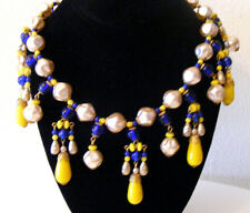 Vintage Miriam Haskell Yellow and Blue Art Glass Baroque Pearl Collar Necklace