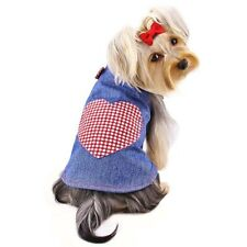 New Size Medium KLIPPO Blue Jean Dog Dress with Checkered Red Heart Dog Clothing
