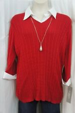 NY Collection Plus Sweater Sz 3X Red Cable Knit V Neck  Business Career Sweater