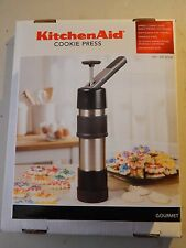 KITCHENAID STAINLESS STEEL COOKIE PRESS GOURMET WITH 12 UNIQUE SHAPED DISCS AID