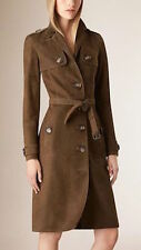 NWT BURBERRY $2995 WOMENS SUEDE LEATHER TRENCH COAT US 6 EU 40