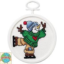Cross Stitch Kit ~ Janlynn Skating Snowman w/Frame #1143-32