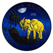 2017 1 Oz Silver AFRICAN ELEPHANT AT NIGHT Coin W/ RUTHENIUM and 24 Gold Gilded.