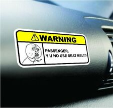 NO USE SEAT BELT? Funny Dash Sticker Set Warning Vinyl Decal JDM Car Truck Meme