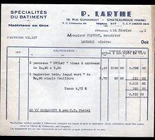 """CHATEAUROUX (36) MATERIAUX de CONSTRUCTION """"P. LARTHE"""" en 1951"""