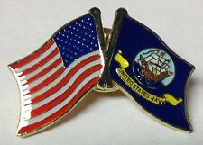 UNITED STATES FLAG & U.S. NAVY FLAG LAPEL PIN HAT TAC NEW