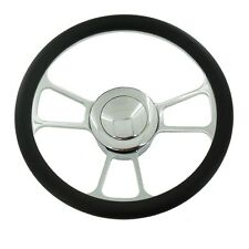 "14"" Chrome Split Tri Spoke Steering Wheel Half Wrap Leather +horn Button"