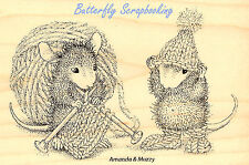 HOUSE MOUSE Knitting Knit Gift Wood Mounted Rubber Stamp STAMPENDOUS HMP12 New