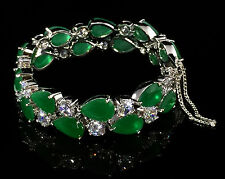14k White Gold GF Bracelet made w Swarovski Crystal Emerald Green & Bling Stones