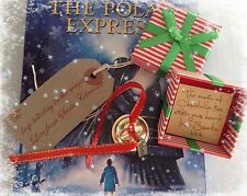 Gold I believe polar express style metal jingle santa christmas boxed bell magic