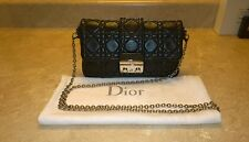 Christian Dior Black Leather Cannage New Lock Promenade Shoulder Crossbody Bag