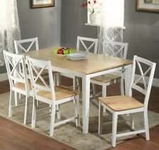 7 Pc White Dining Set Kitchen Room Table Chairs Bench Wood Furniture Tables Sets
