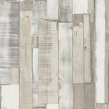 WHITE WOOD BOARD PANEL WALLPAPER - RASCH 203714 - NEW