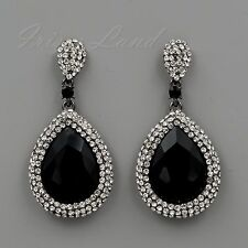 Alloy Black Jet Crystal Rhinestone Chandelier Drop Dangle Earrings 00516 New