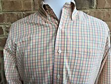Brooks Brothers Men's Country Club Dress Shirt Orange Check Button Front Size-M