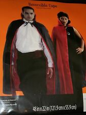 """Adult Vampire Witch Reversible Red Black 48"""" Hooded Cape Halloween Costume"""