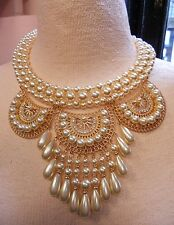 HUGE CREAM PEARL FESTOON STATEMENT NECKLACE CLEOPATRA BIB RUNWAY RHINESTONE