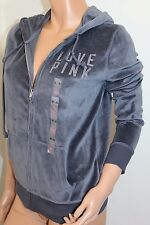 VICTORIA'S SECRET Pink NWT Velour Bling Hoodie Color Gray Sz Medium