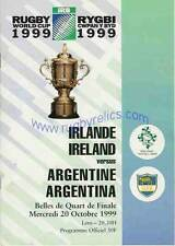 IRELAND v ARGENTINA QUARTER FINAL PLAY OFF 1999  RUGBY WORLD CUP PROGRAMME